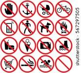 prohibition signs set. vector.   Shutterstock .eps vector #567297505