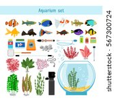 aquarium underwater vector... | Shutterstock .eps vector #567300724