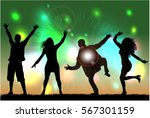 dancing people silhouettes.... | Shutterstock .eps vector #567301159