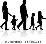 silhouette family on a walk. | Shutterstock .eps vector #567301165