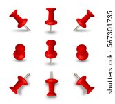 red push pins isolated on white ... | Shutterstock .eps vector #567301735