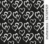 seamless pattern with hearts.... | Shutterstock .eps vector #567309529