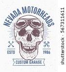 grunge art of skull with retro... | Shutterstock .eps vector #567311611