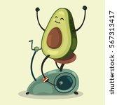 cute avocado makes exercise on... | Shutterstock .eps vector #567313417