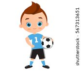 young boy. kid playing football.... | Shutterstock .eps vector #567313651