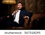 millionaire man resting and... | Shutterstock . vector #567318295