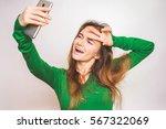 funny face teen making selfie ... | Shutterstock . vector #567322069