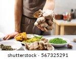 restaurant vegan dishes oyster...   Shutterstock . vector #567325291