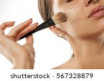 a young woman applied liquid... | Shutterstock . vector #567328879