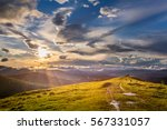 mountain view at sunset with... | Shutterstock . vector #567331057