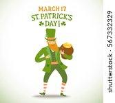 cute cartoon leprechaun holding ... | Shutterstock .eps vector #567332329
