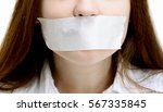beautiful girl with the mouth... | Shutterstock . vector #567335845