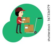 young man moving boxes with... | Shutterstock .eps vector #567336979