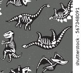 funny sketchy fossil dinosaurs... | Shutterstock .eps vector #567348091