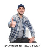 long haul truck driver on white ... | Shutterstock . vector #567354214