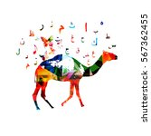 colorful camel with arabic... | Shutterstock .eps vector #567362455