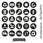 environmental issues icon set.... | Shutterstock .eps vector #567363991