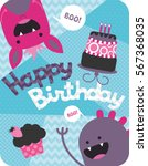 monster party card design.... | Shutterstock .eps vector #567368035