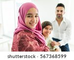 happy arabic muslim family at... | Shutterstock . vector #567368599