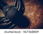 close up shot of a microphone... | Shutterstock . vector #567368809