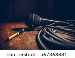 close up shot of a microphone... | Shutterstock . vector #567368881