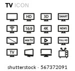 vector line tv icons set | Shutterstock .eps vector #567372091