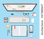 desktop workspace | Shutterstock .eps vector #567380647