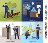 police officers work 4 flat... | Shutterstock .eps vector #567384601