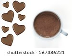 mug with hot chocolate and... | Shutterstock . vector #567386221