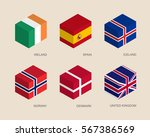 set of isometric 3d boxes with... | Shutterstock .eps vector #567386569