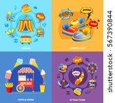 circus amusement park 4 flat... | Shutterstock .eps vector #567390844