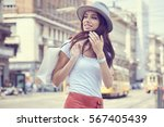 young beautiful woman with... | Shutterstock . vector #567405439