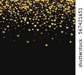 gold gradient hearts confetti.... | Shutterstock .eps vector #567421651
