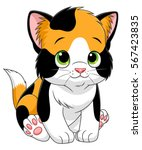 Stock vector cute cartoon calico kitten 567423835