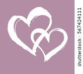 heart brush painted banner. two ... | Shutterstock .eps vector #567424111