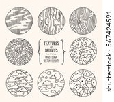 hand drawn textures and brushes.... | Shutterstock .eps vector #567424591
