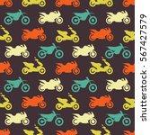 retro motorcycle seamless... | Shutterstock .eps vector #567427579