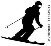 mountain skier speeding down... | Shutterstock .eps vector #567434761