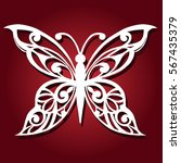 decorative butterfly for laser... | Shutterstock .eps vector #567435379