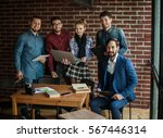 business team with laptop and... | Shutterstock . vector #567446314