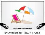 beach umbrella and chair icon... | Shutterstock .eps vector #567447265