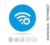 wifi locked sign. password wi... | Shutterstock .eps vector #567448837