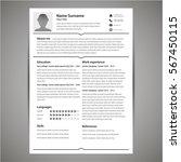resume and cv template. flat...   Shutterstock .eps vector #567450115