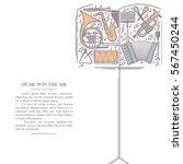 music instrument retro line... | Shutterstock .eps vector #567450244