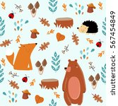 vector forest seamless pattern... | Shutterstock .eps vector #567454849