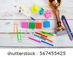 school supplies on wooden