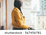 back view of young beautiful... | Shutterstock . vector #567456781