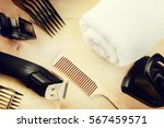 setting with hair clipper and... | Shutterstock . vector #567459571