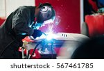 welding industrial  worker in...   Shutterstock . vector #567461785