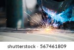 industrial concept  worker in... | Shutterstock . vector #567461809